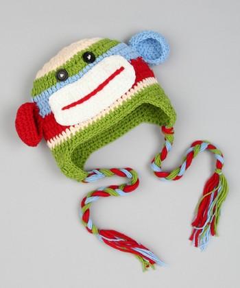 Green & Red Monkey Earflap Beanie