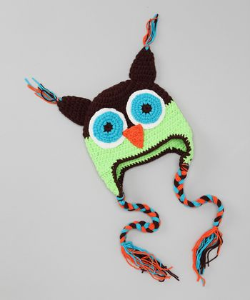 Brown & Green Owl Earflap Beanie