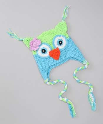 Blue & Green Flower Owl Earflap Beanie