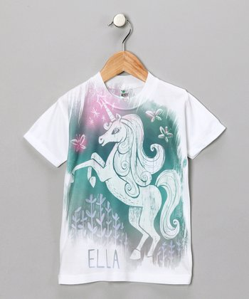White & Green Unicorn Personalized Tee - Toddler & Girls