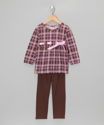 Dark Pink Plaid Tunic & Brown Leggings - Toddler