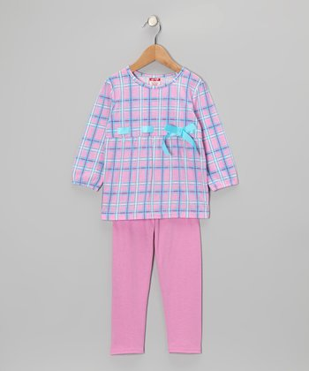 Light Pink Plaid Tunic & Leggings - Toddler