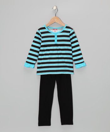 Blue Stripe Tunic & Black Leggings - Girls