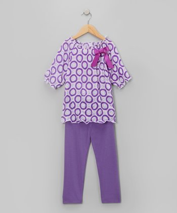 Purple Circle Tunic & Leggings - Girls