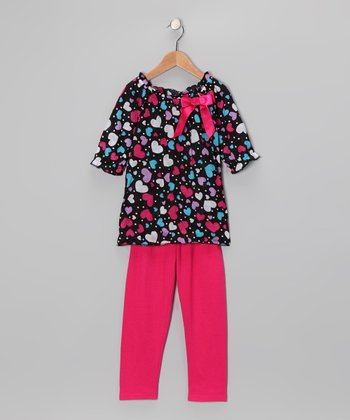 Black & Pink Bow Tunic & Leggings - Girls