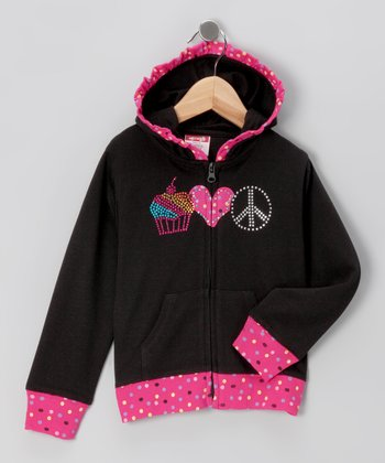 Black Cupcake Zip-Up Hoodie - Girls