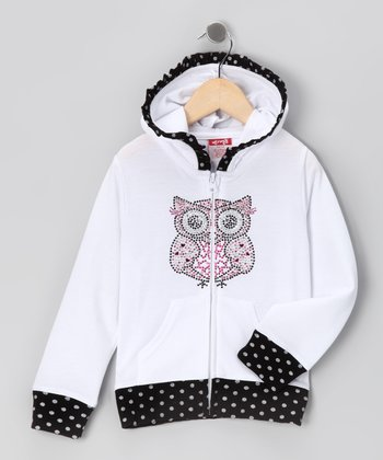 White Owl Zip-Up Hoodie - Toddler & Girls
