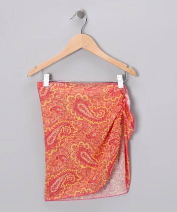 Orange Paisley Sarong - Girls