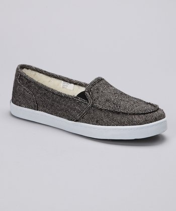 Black Huntington Wool Slip-On Shoe
