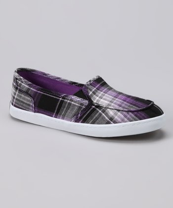 Purple Plaid Slip-On Shoe