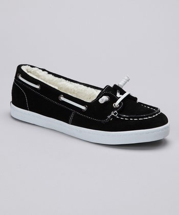 Black Suede Boat Shoe