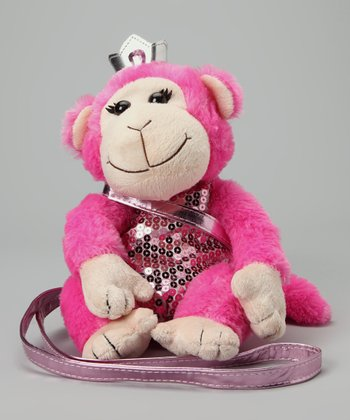 Pink Monkey Sequin Plush Purse