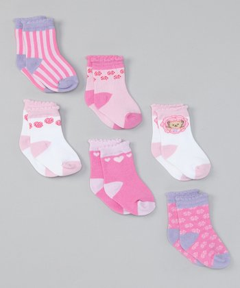 Pink & White Teddy & Heart Socks Set