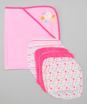 Pink Polka Dot Hooded Towel & Washcloth Set