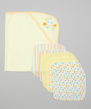 Yellow Polka Dot Hooded Towel & Washcloth Set