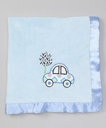Blue Car Satin-Trim Stroller Blanket