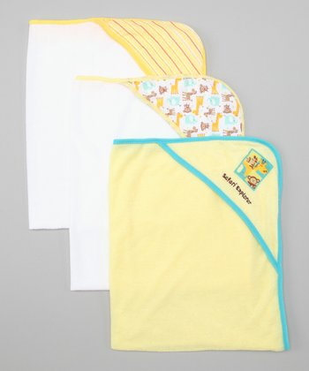 Yellow Safari Hooded Towel Set