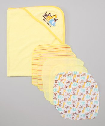 Yellow Safari Hooded Towel & Washcloth Set
