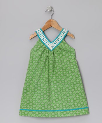Green Floral V-Neck Dress - Infant & Toddler