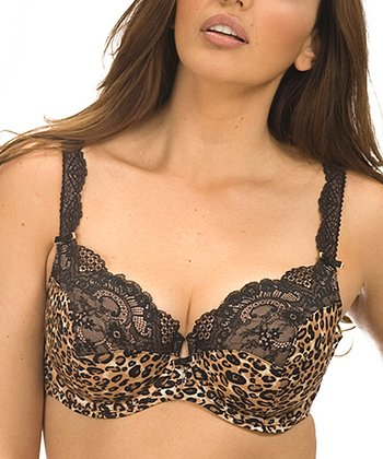 Brown & Black Animal Skin Lace Balconette Bra