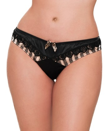 Black & Gold Entice Thong - Women & Plus