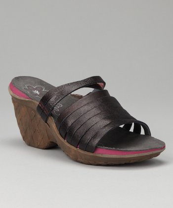 Black Weave Wedge Slide - Women
