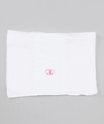 White & Pink Butterfly Burp Cloth