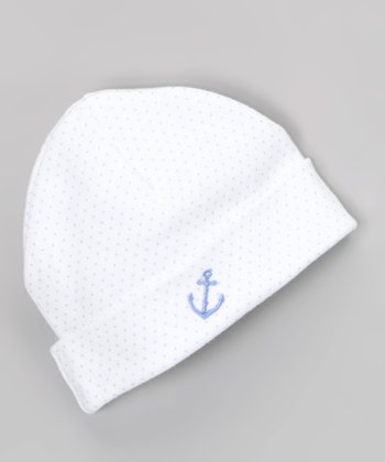 Blue Polka Dot Anchor Beanie