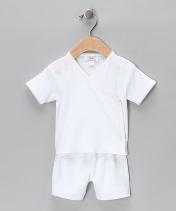 White & Pink Wrap Top & Shorts - Infant