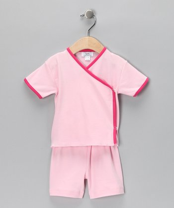 Pink Pima Wrap Top & Shorts - Infant