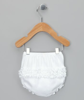 White Ruffle Diaper Cover - Infant