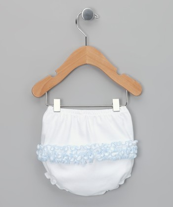 White & Baby Blue Ruffle Diaper Cover - Infant