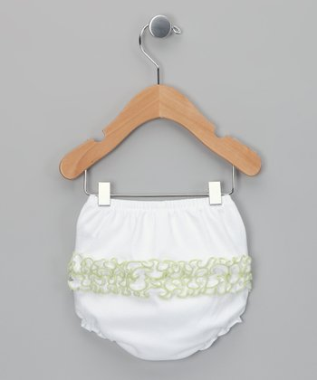 White & Sage Ruffle Diaper Cover - Infant
