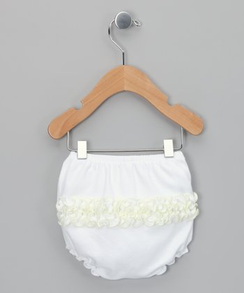 White & Yellow Ruffle Diaper Cover