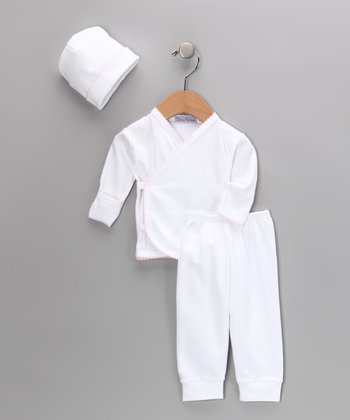 White & Light Pink Wrap Top Set - Infant