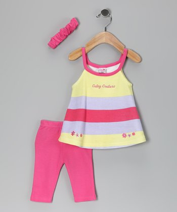 Pink & Yellow Stripe Leggings Set - Infant