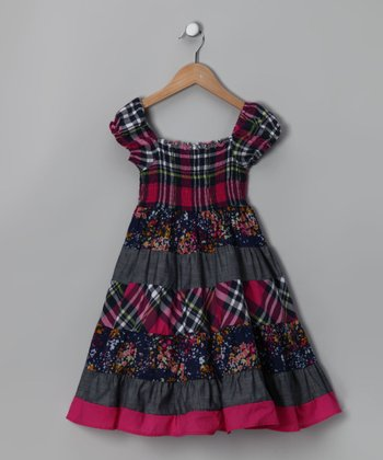 Navy & Fuchsia Plaid Peasant Dress - Toddler & Girls
