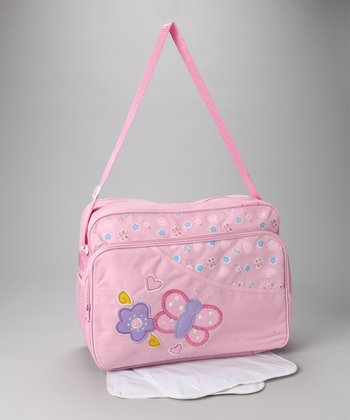 Pink Butterfly Large Diaper Bag