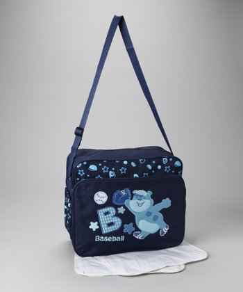 Navy Baseball Bear Diaper Bag