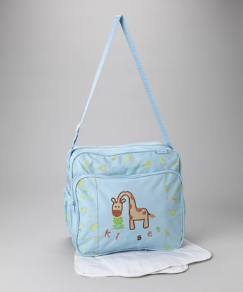 Blue Giraffe Kisses Medium Diaper Bag