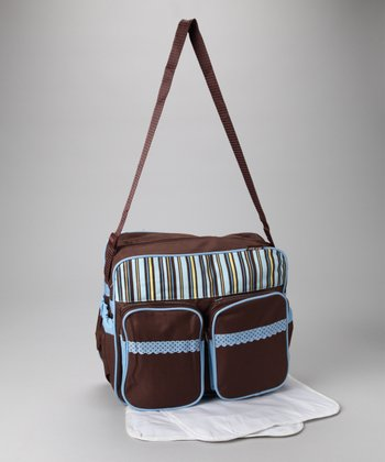 Brown & Blue Stripe Diaper Bag