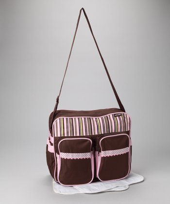 Brown & Pink Stripe Diaper Bag