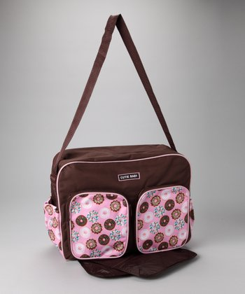 Brown & Pink Donuts Large Diaper Bag