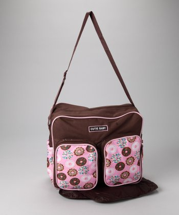 Brown & Pink Donuts Medium Diaper Bag