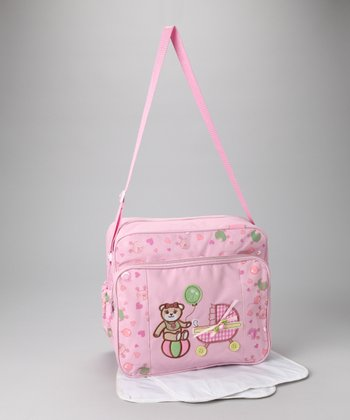 Pink Balloon Bear Diaper Bag