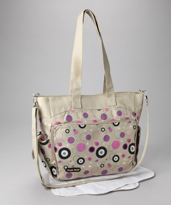 Beige & Pink Circles Diaper Bag