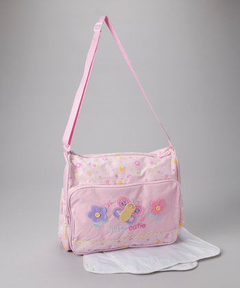 Pink 'Little Cutie' Butterfly Diaper Bag