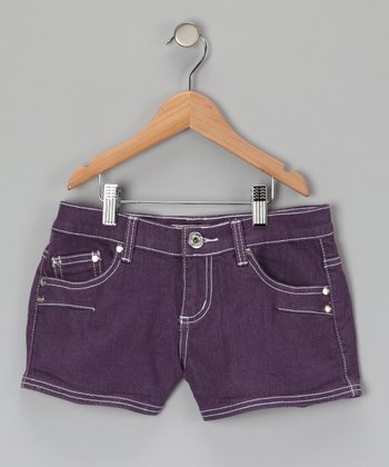 Purple Double Pocket Shorts - Girls