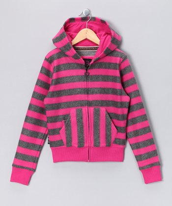 Hot Pink Stripe Phone Pocket Fleece Zip-Up Hoodie - Girls