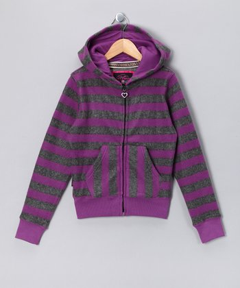 Purple Stripe Phone Pocket Fleece Zip-Up Hoodie